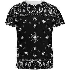 Black Bandana Pattern All Over Adult T-Shirt