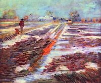 Snowy fields in Arles by Vincent Van Gogh Giclee Fine Art Print Repro on Canvas