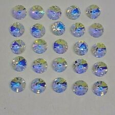 24pc Swarovski Crystal Clear Ab 6mm Rivoli Xilion 6428 Pendants; Bulk Lot