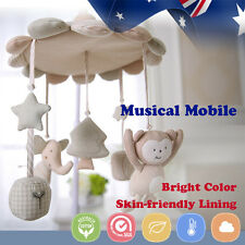 Baby Cot Crib Bed Musical Mobile Nursery Play Elephant Bird Penguin Cotton Cream