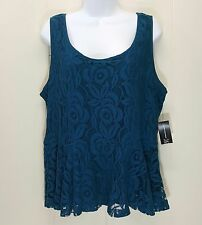 INC XL Shirt Top Blouse Peplum Blue Floral Lace Sleeveless Lacy Career NWT NEW