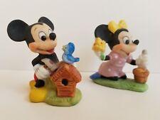 Disney Mickey and Minnie Porcelain Figurines Flower Pot Birdhouse Garden Bird