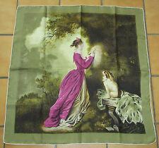 T. beau foulard ancien repro FRAGONARD twill soie silk scarf TBE chien