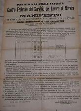WW2 PNF MANIFESTO CHIAMATA SERVIZIO LAVORO INGEGNERI GEOMETRI NOVARA 1943