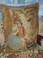 Stunning mid Victorian  needlework cushion of a courting couple with there dog