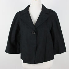 Liz Claiborne Black Embroidered Jacket M Medium Blazer Floral Cropped Swing Coat