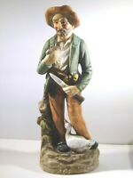 """Home Interior Homco 8"""" Man with Pipe/Duck Figurine #1417 (knee patch not paint)"""