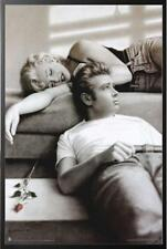 Marilyn Monroe James Dean Lounging Poster in Black Wood Frame 24x36