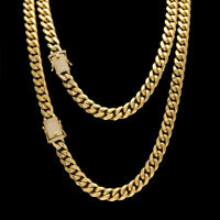 14K Gold GP Stainless Steel Miami Cuban Link 10mm Chain Necklace Diamond Clasp