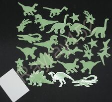 1, 24, 48 or 72 Glow in the dark Dinosaur plastic shapes with sticky pads H75