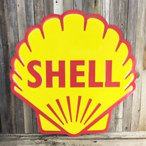 """Shell Gasoline Gas Motor Oil 24"""" Large Embossed Round Metal Tin Sign Diecut New"""