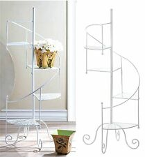 "39"" WHITE IRON SPIRAL SHOWCASE PLANT STAND ** 4 Platforms Indoor/Outdoor ** NIB"