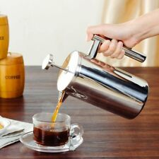 1L Kaffeebereiter Doppelwandig Edelstahl Frechpress Cafetiere Keffeekanne+Filter
