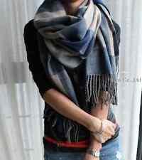 Lady's Scotland Cashmere wool soft Scarf Long Shawl plaid classics blue&gray