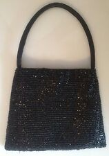 Black Beaded Evening Bag / Purse Mint Condition
