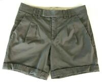 """Vince Womens Chino Shorts Pleated Cuffed Pockets Gray Cotton 6"""" Inseam Size 6"""