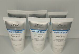 🛀Dove Derma Series Dry Skin Relief Gentle Cleansing Face Wash 1.7oz  Lot of 6
