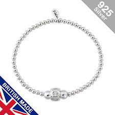 Trink Twinkle Sterling Silver Beaded White Stone Charm Bracelet Elastic Stretch
