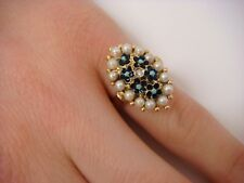 18K YELLOW GOLD ANTIQUE RING ENAMEL WITH SEED PEARLS 5.9 GRAMS MADE IN ITALY