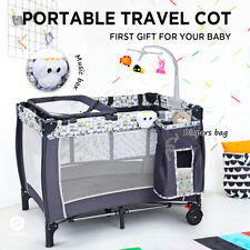 Foldable Travel Baby Crib Portacot Infant Bassinet Bed Playpen W/ Music Box New