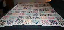 Hand Crocheted Afghan Granny Square Pattern Blanket 76x57 MINT Bedspread Quilt