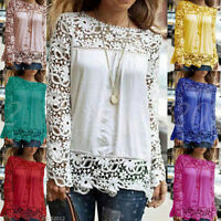 Women's Long Sleeve Shirt Casual Lace Loose Cotton Tops T Shirt Blouse UK 8-22