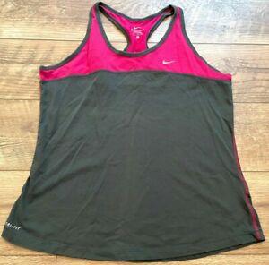NIKE driFIT Gray Pink Gym Yoga Athletic Running Workout Tank Top womens Large LG