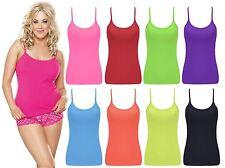 Girls Womens Plain Lycra Vest Neon Coloured Army Top ladies Party Wear Vest Top