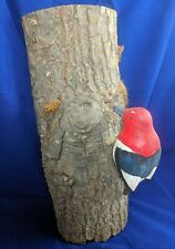 Rare Woodpecker Wood Bird Statue Hand-Carved and Numbered by Al McHenry, CA
