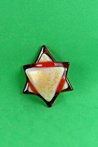 Jewelry Tone White Star David Fussed Glass Cabochon NO HOLE  Handmade
