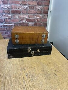 2 X Vintage Wooden Double Sided Float/Tackle Box