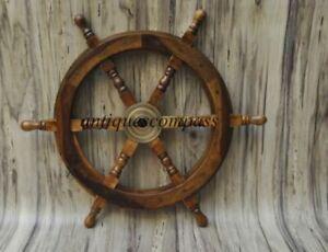 Nautical Wooden Ship Steering Wheel  Brass Fishing Pirate Decor Wood Wall Boat