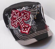 Distressed Cadet Style Hat Cap in Black w/ Rhinestoned Cross Shield Wings h32