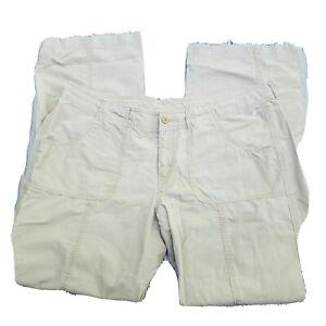 The North Face Women's Hiking Travel Pants Beige Lightweight Sz 14 Roll Up Capri