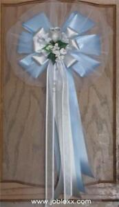 6 SILVER ROSE BABY BLUE/SILVER Flora Satin Ribbon Pew Bows for Occasions
