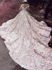 Custom Elegant Wedding Dress Applique Off shoulder Cathedral Train Bridal Gowns