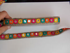 1m khaki mirror shisha embroidered ribbon applique motif trimming decor Indian