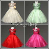 Kids Party Prom Flower Girl Dress Pageant Bridesmaid Wedding Formal Dress Gown