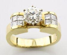 14k Oro Amarillo Redondo Anillo De Compromiso Diamante Solitario Patron = 1.83