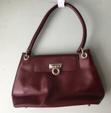 TIFFANY & FRED PARIS GENUINE LEATHER BURGUNDY PURSE BAG MADE IN FRANCE