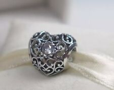 GENUINE PANDORA APRIL BIRTHSTONE HEART CHARM With OFFICIAL PANDORA PACKAGING