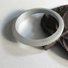 "Bracelet Asymmetrical Width 2.5"" D Silver Inside Frosted Scored Round Bangle"