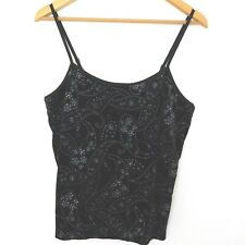 Chico's Womens Tank Top Black Sparkle Velvet Paisley Bralette Adjustable Size 2