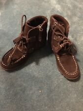 Lands' End Brown Suede Ankle Boots Sz 1M