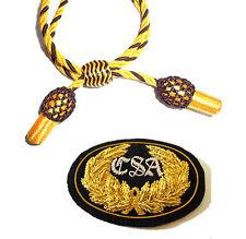 American Civil War Infantry Officers Gold Braided Horn Small Kepi Badge 7x5cms