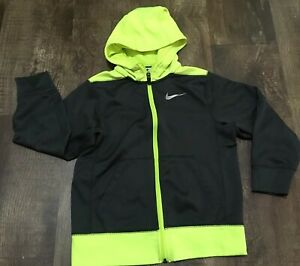 Nike Therma-Fit Full Zip Hoodie Size Small S Gray & Neon Green