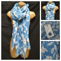 NEW £29.95 SEASALT SCARF SHAWL TRANQUIL SCARF LINEN COTTON BLUE FLORAL