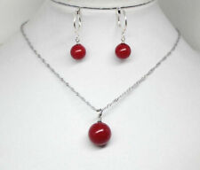 Natural 10mm/14mm Red South Sea Shell Pearl Pendant Necklace Earrings Set