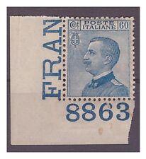 REGNO 1923  - MICHETTI -  CENT 60 AZZURRO   NUOVO  **  NUMERO DI TAVOLA
