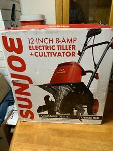 Sun Joe TJ602E 12-Inch 8-Amp Electric Tiller and Cultivator , Red